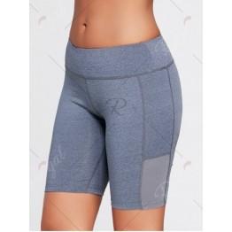 Elastic Waist Sports Shorts with Pocket - Deep Gray - M
