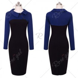 Elegant Vintage Fitted Winter Dress Full Sleeve Patchwork Turn-down Collar Button Business Sheath Pencil Dress - Deep Blue - L