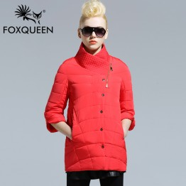 FOXQUEEN 2016 New Spring Warm Cotton Clothing Cotton padded Coat Women's Clothing Three Quarter Sleeve Coat Jacket Windbreaker