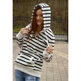 Fashionable Long Sleeves Striped Hoodie For Women - Stripe - Xl