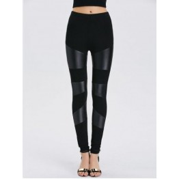 Faux Leather Bodycon Leggings - Black - One Size
