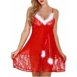 Feathers See Through  Santa Lingerie Lace Babydoll - Red - 2xl