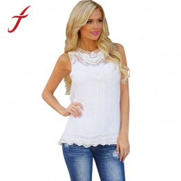 Feitong Women Summer Tops Tank Lace Hollow T Shirt 2016 Fashion Cotton Bend Sleeveless Casual Tops Tank blusa de renda feminino