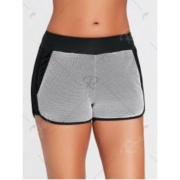 Fishnet Mesh Layering Running Shorts with Pocket - Black - M