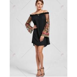 Flare Sleeve Off Shoulder Embroidered Mesh Dress - Black - 2xl