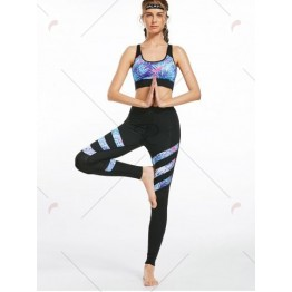 Floral Padded  Workout Racerback Bra and Leggings - Black - M