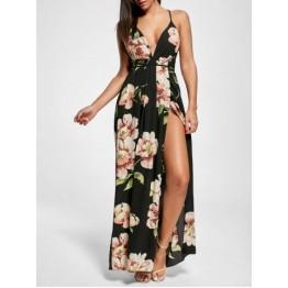 Floral Slit Backless Maxi Slip Plunge Dress - Black - M