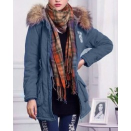 Graceful Hooded Long Sleeve Badge Embroidered Women's Padded Coat - Blue - 2xl