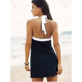 Halter Sailor Swimdress Stripe Tankini Top Bathing Suit - White And Black - L