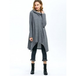 High Low Hem Hooded Coat - Gray - Xl
