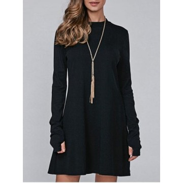 High Neck Long Sleeve Casual Jumper Dress - Black - Xl776630