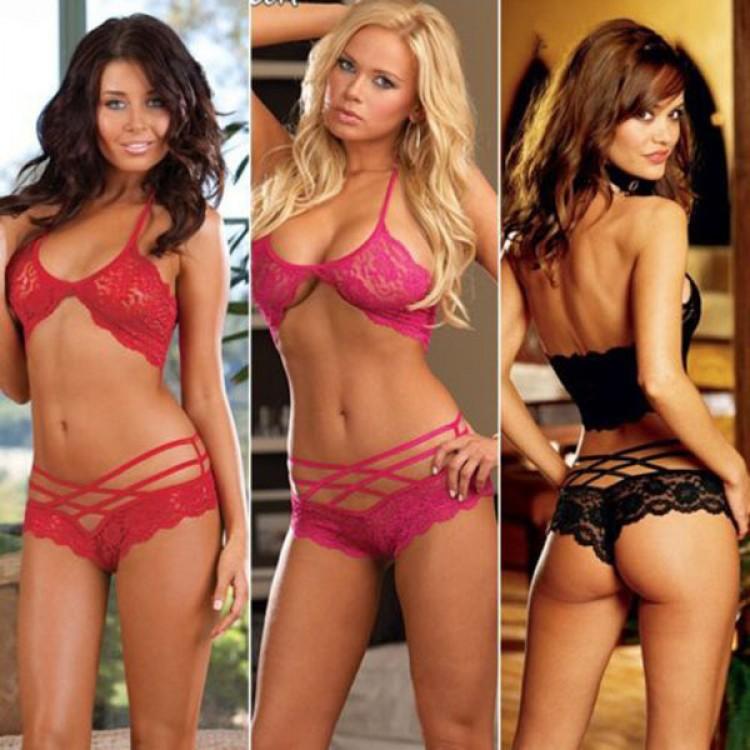 ad833279f0 Hot sales Sexy Woman Lace Sleepwear Halter Underwear Lingerie G-string  Black Red