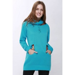 Korean Thicken Solid Color Thicken Hooded Long Sleeves Women's Hoody - Blue - M