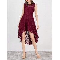 Lace High Low Swing Evening Party Dress - Wine Red - S