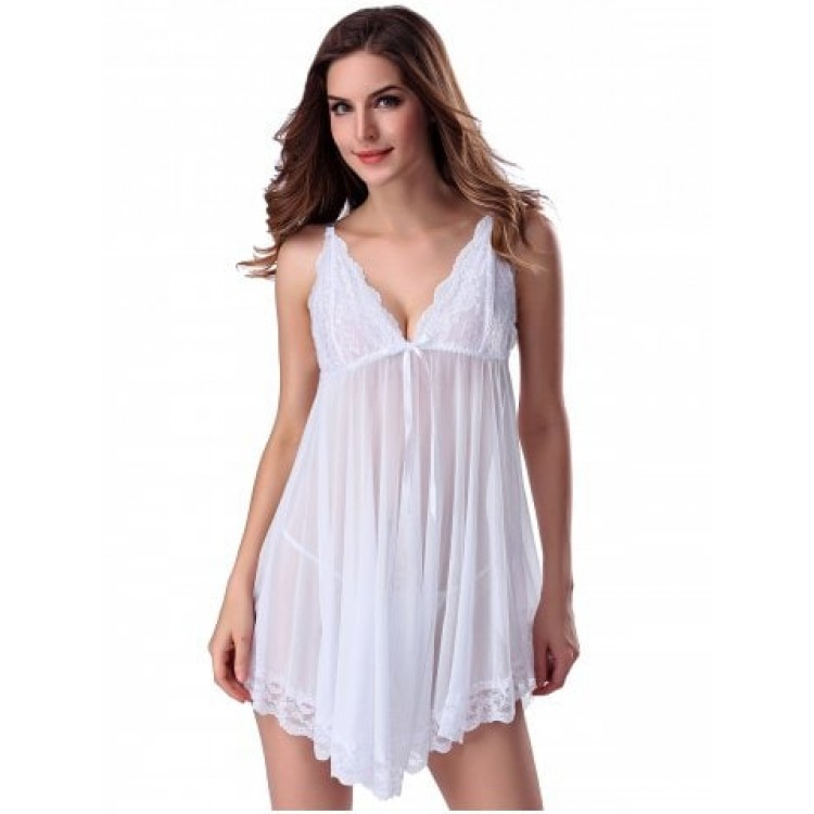 a13b965fc8e Lace Trim Sheer Deep V Neck Babydoll With Cape - White - Xl
