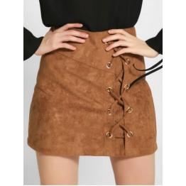 Lace-Up Faux Suede A-Line Skirt - Khaki - M