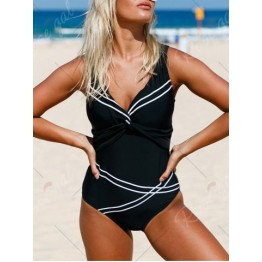 Lace-Up Twist Swimsuit - Black - Xl