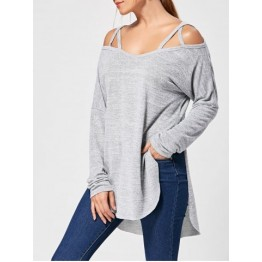 Lattice Long Sleeve High Low Top - Gray - M