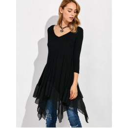 Long Sleeve Asymmetrical Handkerchief Long T-Shirt - Black - M