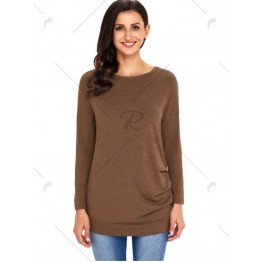 Long Sleeve Button Embellished Tunic Top - Brown - Xl