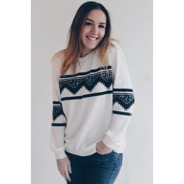 Long Sleeve Chevron Graphic Sweatshirt - White - L