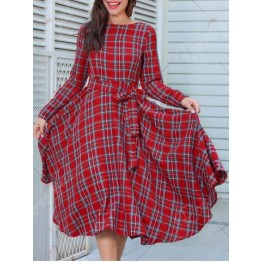 Long Sleeve Plaid Belted Midi Dress - Red - Xl
