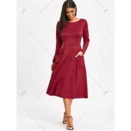 Long Sleeve Pockets A Line Midi Dress - Wine Red - M