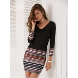 Long Sleeve Striped Short Fitted Tight Dress - Black - M