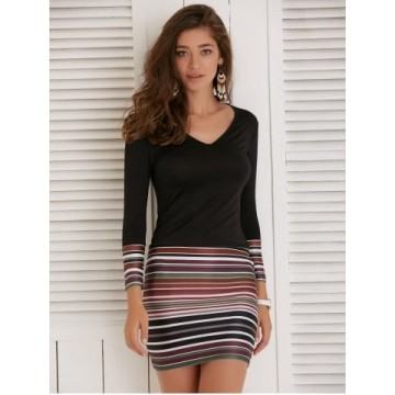 Long Sleeve Striped Short Fitted Tight Dress - Black - M600895