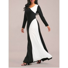 Long Sleeve Two Tone Maxi Jersey Dress - White And Black - L