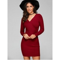 Long Sleeve V Neck Ribbed Sheath Dress - Wine Red - One Size