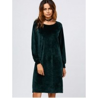Long Sleeve Velvet Slit Dress - Blackish Green - Xl