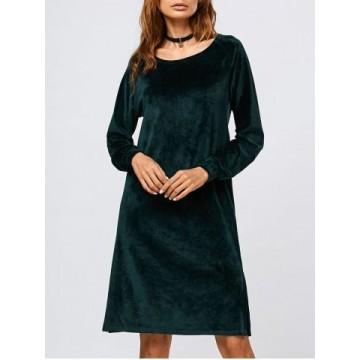 Long Sleeve Velvet Slit Dress - Blackish Green - Xl835404