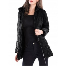 Long Zip Up Hooded Down Coat - Black - 2xl