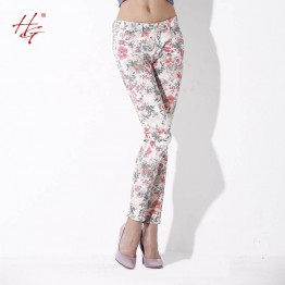 M17 2016 new arrival large size floral printed pants women skinny flowered  trousers painted pencil pants female  plus size