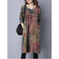 Maple Tree Print Loose-Fitting Dress - L
