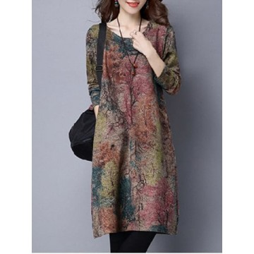 Maple Tree Print Loose-Fitting Dress - L776769