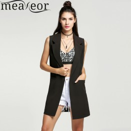 Meaneor Classical Autumn Women waistcoat Sleeveless Vest Jacket Long Solid Cardigan All-match Coat Outwear For Famale FreeStyle