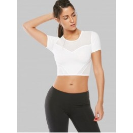 Mesh Panel Running Gym Cropped T-Shirt - White - S