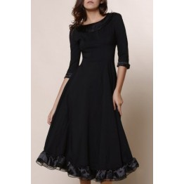 Midi A Line Flounce Swing Evening Dress - Black - 2xl