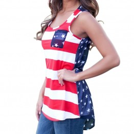 NEW Sexy Summer Style Sleeveless Tops American USA Flag Print Stripes Tank Top for Women Blouse Vest Shirt #10