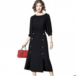 New Women's Black Dress - 黑色 - L