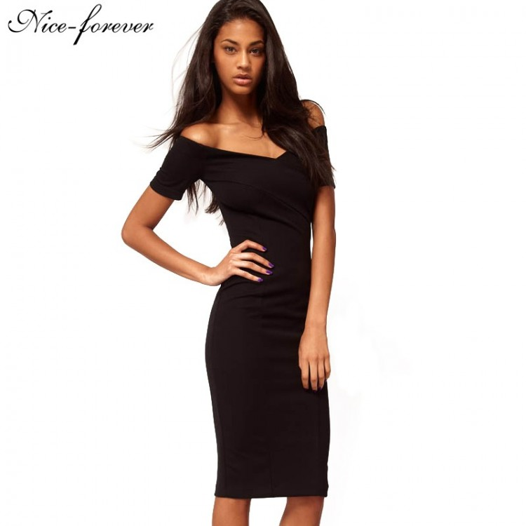d0fc7c9df45f Nice-forever Casual Office Lady off Shoulder Solid Work Sexy V neck  knee-length Zipper Tunic Business Pencil Bodycon Dress 378