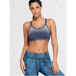 Ombre Adjustable Racerback Padded Sports Bra - Purplish Blue - M