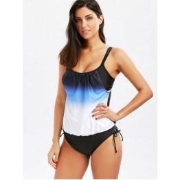 Ombre Cami Blouson Tankini Swimwear - Black - L