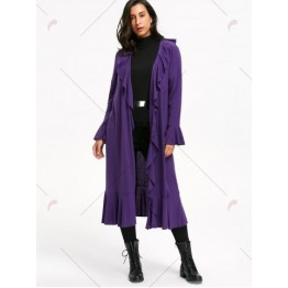 Open Front Flare Sleeve Ruffles Long Coat - Purple - Xl
