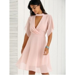 Petal Sleeve Knee Length Plunging Neck Pleated Dress - Pink - L