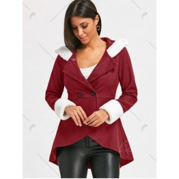 Plush Hooded Double Breasted Coat - Red - 2xl