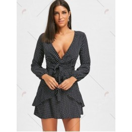 Puff Sleeve Low Cut Polka Dot Mini Dress - Black - Xl