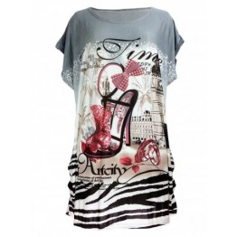 Pumps Print Loose-Fitting T-Shirt - Gray - One Size